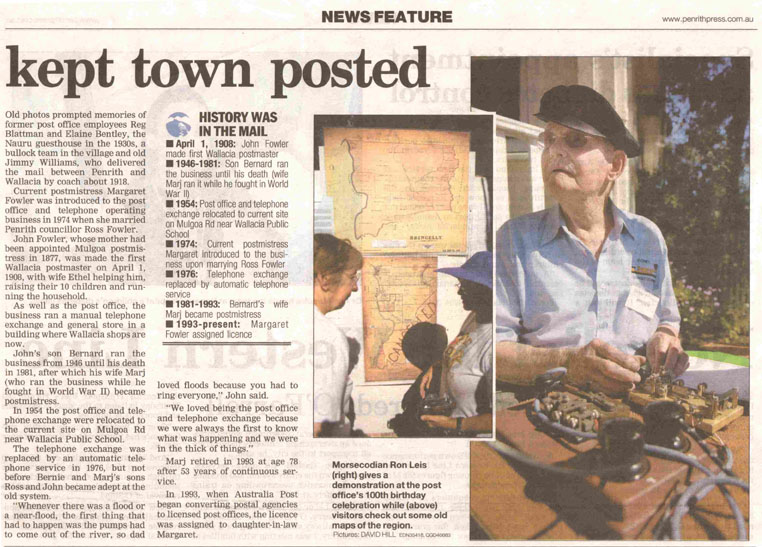 Penrith Press's newspaper Wallacia Post Office report